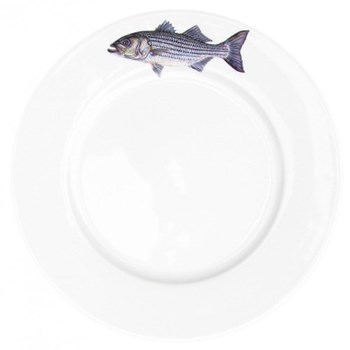 Striped Bass Flat Rimmed Plate, 26cm