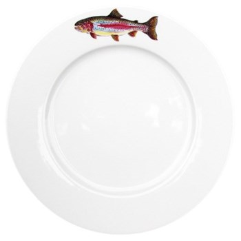 Rainbow Trout Flat rimmed plate, 26cm