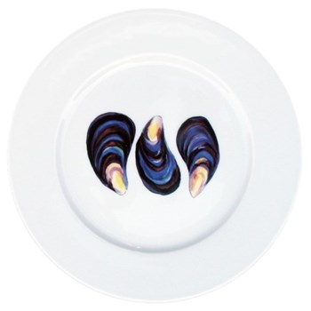 Mussels Flat rimmed plate, 19cm
