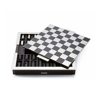 Sutton Chess set, 40 x 40 x 5.7cm, black leather and walnut with nickel plated chess pieces