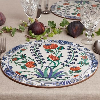 Iznik Set of 4 round table mats, 25.5cm