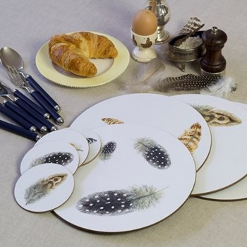 Feathers Set of 4 round coasters, 10cm