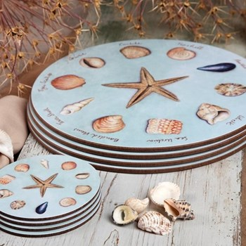 Sea Shell Set of 4 round coasters, 10cm