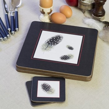 Guinea Fowl Set of 4 square coasters, 10 x 10cm