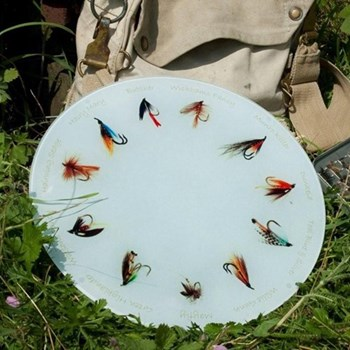 Fishing Fly Glass platter, 30cm