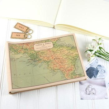 Large landscape photo album with personalised map cover 26 x 37 x 6cm