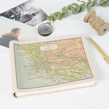 Small photo album with personalised map cover 16 x 22 x 3cm