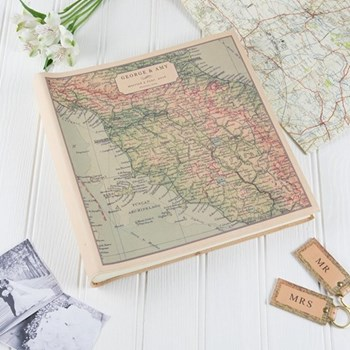 Large square photo album with personalised map cover 35 x 35 x 6cm