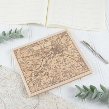 Visitors book with personalised map cover, 22 x 26.5cm