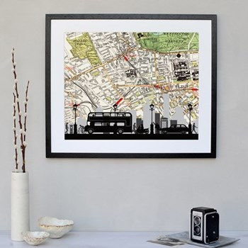 Framed silhouette image with personalised map 43 x 48cm
