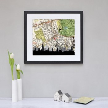 London Skyline Framed silhouette image with personalised map, 43 x 48cm, black frame