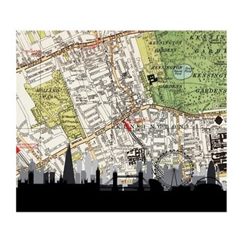 Unframed silhouette image with personalised map 40 x 45cm