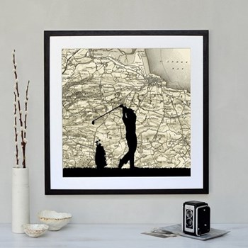 Golf Framed silhouette image with personalised map, 43 x 48cm, black frame