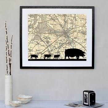Pigs Framed silhouette image with personalised map, 43 x 48cm, black frame