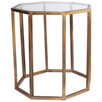 Octagon Side table, large, W57 x D57 x H62cm, brass