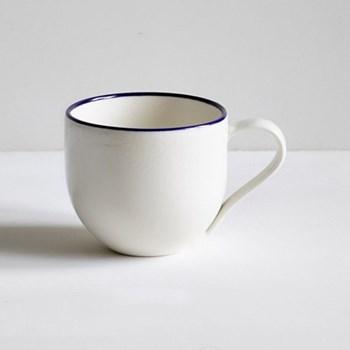 Simple Mug with coloured rim, 1/2 pint, cobalt blue
