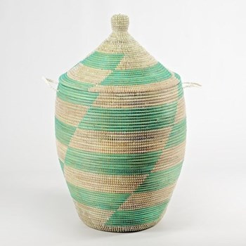 Ali Baba Laundry basket, 80 x 43cm, natural/mint