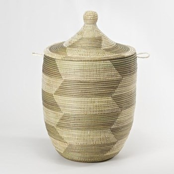 Ali Baba Laundry basket, 66 x 38cm, natural and grey