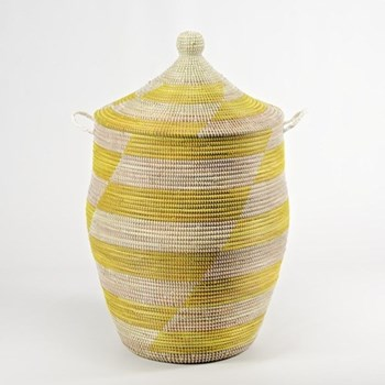 Ali Baba Laundry basket, 66 x 38cm, natural/yellow