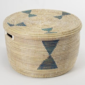 African Storage basket, 25 x 40cm, natural and blue diamonds