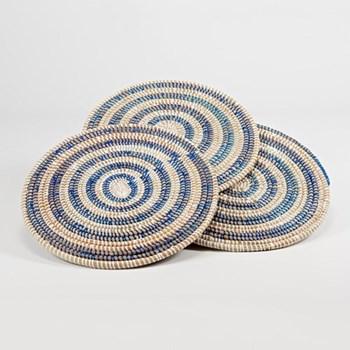 Coaster, 10cm, natural & blue