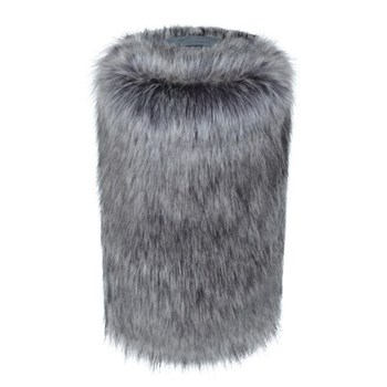 Doorstop, 27 x 15cm, faux fur with leather handle - lady grey