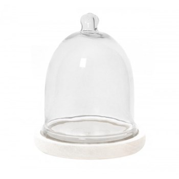 Glass cloche with wooden base 15.75 x 20.5cm