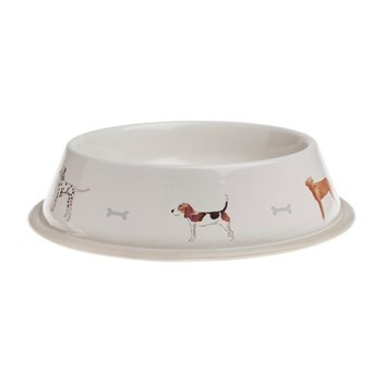 Woof! Dog bowl - large, 1 litre / 30 x 6.5cm, galvanised steel