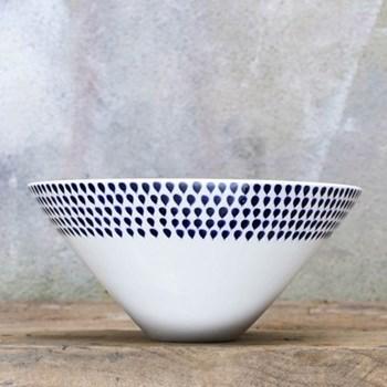 Dew Drop Serving bowl - large, 14 x 30cm, cream and indigo