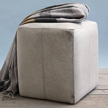 Hide Footstool, 36 x 36 x 42cm, soft grey cow hide