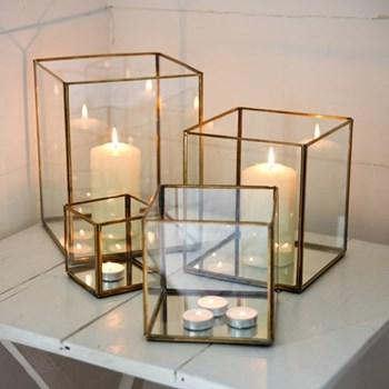 Bimala Lantern - extra large, 27 x 21 x 21cm, antique brass