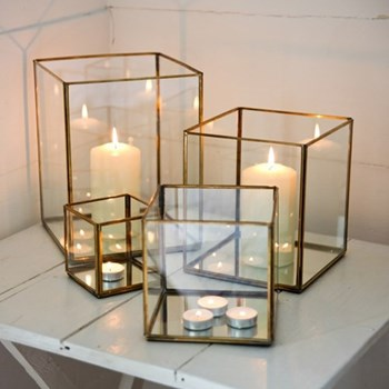 Bimala Lantern - large, 21 x 18.5 x 18.5cm, antique brass