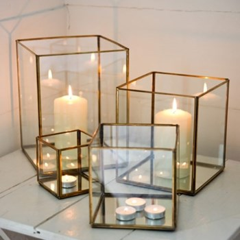 Bimala Lantern, 16 x 16 x 16cm, antique brass
