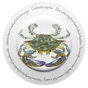 Blue Crab Flat rimmed plate, 30cm