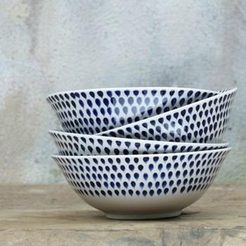 Indigo Drop Cereal bowl, 6 x 17cm, blue and white