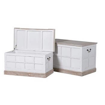 Grosvenor Pair of trunks, 50.5 x 79 x 45.5/38.5 x 76 x 38cm, white wash finish