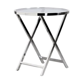 Terano Round End table, 45 x 70 x 130cm, polished steel and glass