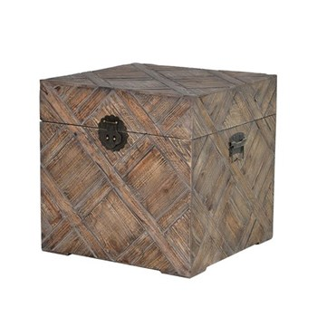 Square trunk, 49.5 x 49 x 49cm, carved effect