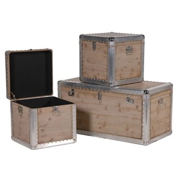 Set of 3 trunks, 52 x 101 x 51 / 46 x 45 x 45cm, silver trim
