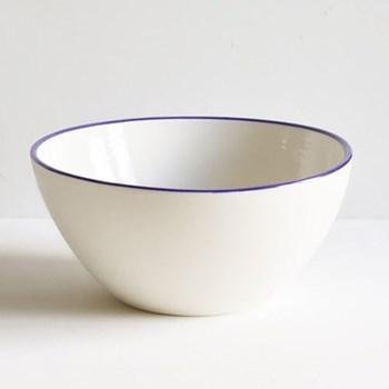 Cobalt Blue Rim Serving bowl, 25cm, half glazed porcelain