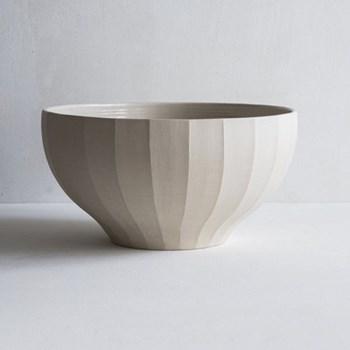 Fluted bowl, 25cm, half glazed stoneware