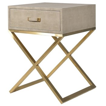 Side table, 68.5 x 50 x 50cm, faux shagreen leather