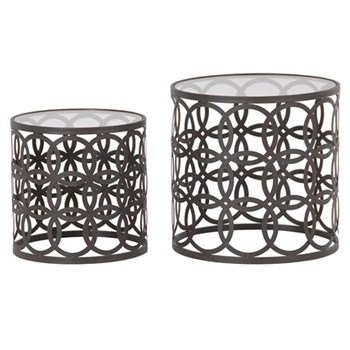 Pair of round nesting tables, 50 x 50 / 40 x 40cm, metal
