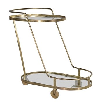 Venetian Oval drinks trolley, 77 x 43 x 87cm, glass and gold finish