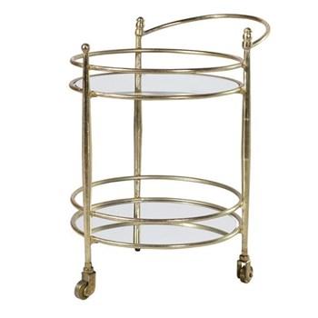 Drinks trolley, 66.5 x 57 x 45cm, glass & brass