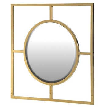 Round mirror in square frame 77.5 x 77.5cm