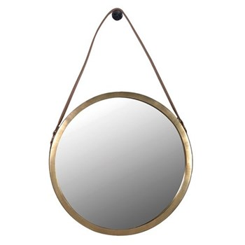 Round hanging mirror, 53cm, saddle leather strap