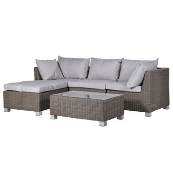 Aylesbury Outdoor living set, sofa - 87 x 242 x 158cm / table - 38 x 100 x 59cm
