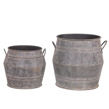 Pair of large metal buckets, 53 x 46 / 41 x 36cm