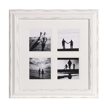 Photoframe - 4 pictures, 49 x 49cm, distressed white